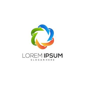 Logotipo abstrato colorido com setas
