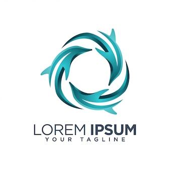 Logotipo abstrato colorido golfinho