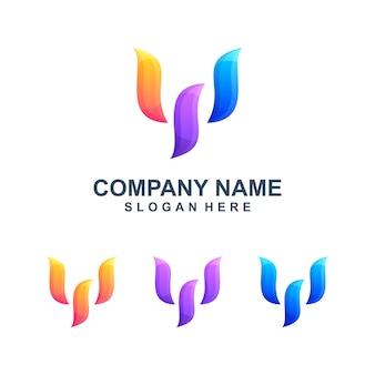 Logotipo abstrato colorido letra w