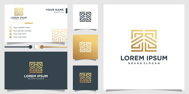 Logotipo abstrato com estilo de arte de linha gradiente dourado e modelo de design de cartão de visita