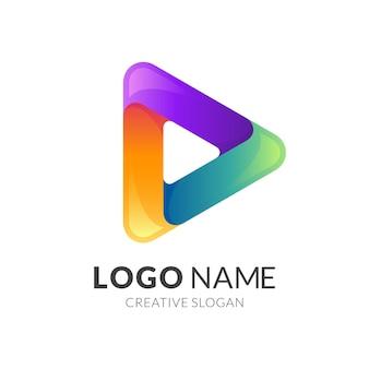 Logotipo abstrato com ilustração de play design, colorido