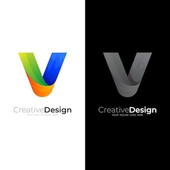 Logotipo abstrato com modelo de design da letra v, ícones coloridos 3d