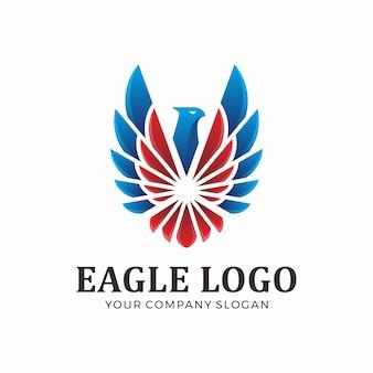 Logotipo abstrato da águia com cor azul e vermelha