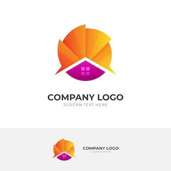 Logotipo abstrato da casa com combinação de modelo de design de sol, estilo de cor 3d