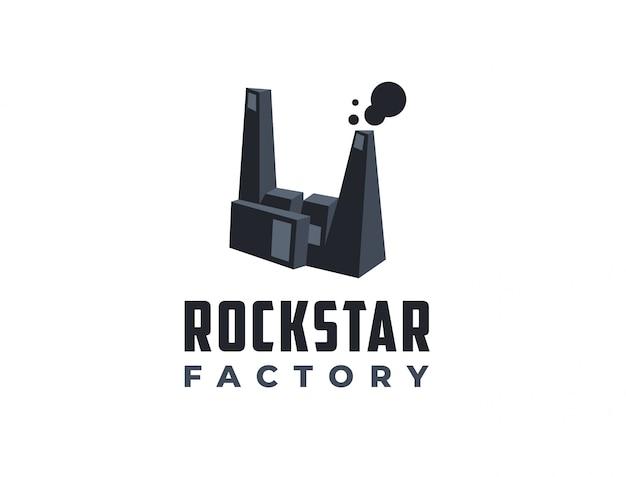 Logotipo abstrato da fábrica rockstar tempate, logotipo rockhand