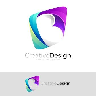 Logotipo abstrato da letra b e combinação de design quadrado