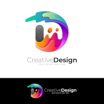 Logotipo abstrato da letra d com ilustração colorida