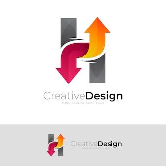 Logotipo abstrato da letra h e combinação de design de seta