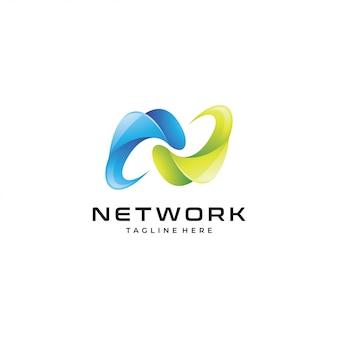 Logotipo abstrato da letra n do símbolo 3d