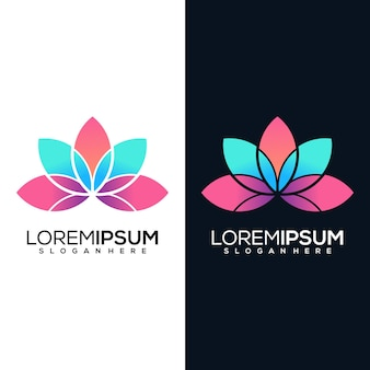 Logotipo abstrato da lótus em duas versões