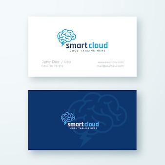 Logotipo abstrato da nuvem inteligente e modelo de cartão.