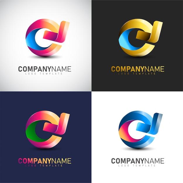 Logotipo abstrato da seta do círculo 3d