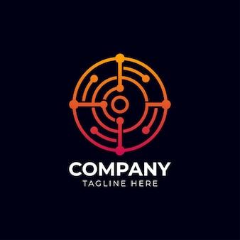 Logotipo abstrato da tecnologia de conexão digital. design simples de alta tecnologia. ícone de vetor moderno.