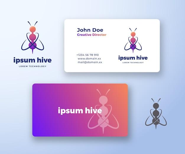 Logotipo abstrato da tecnologia hive e modelo de cartão de visita.