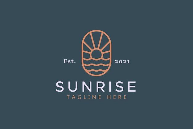 Logotipo abstrato da tendência do sol e das ondas