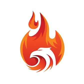Logotipo abstrato de águia de fogo