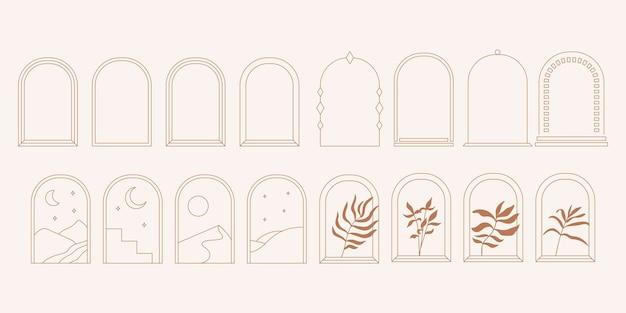Logotipo abstrato de arcos e janelas definido com folha de palmeira e modelos de design de lua em estilo minimalista linear moderno.