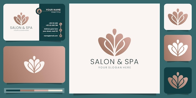 Logotipo abstrato de beleza feminina em salão de beleza e spa conceito de forma de silhueta logotipo e modelo de cartão de visita