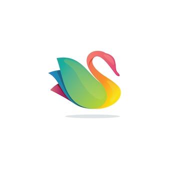 Logotipo abstrato de cisne moderno