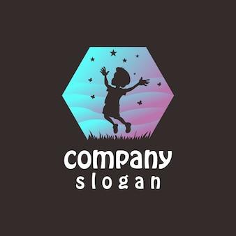 Logotipo abstrato de crianças