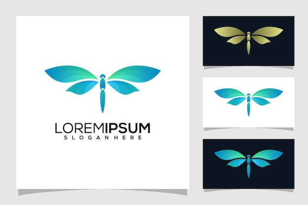 Logotipo abstrato de libélula