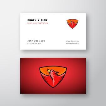 Logotipo abstrato de phoenix e modelo de cartão de visita.