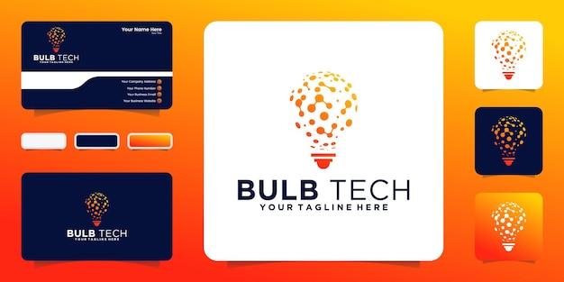 Logotipo abstrato de tecnologia de lâmpada e inspiração de cartão de visita