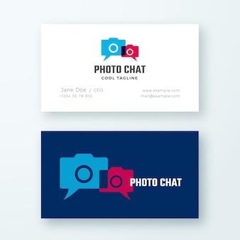 Logotipo abstrato do bate-papo da foto e modelo de cartão de visita.