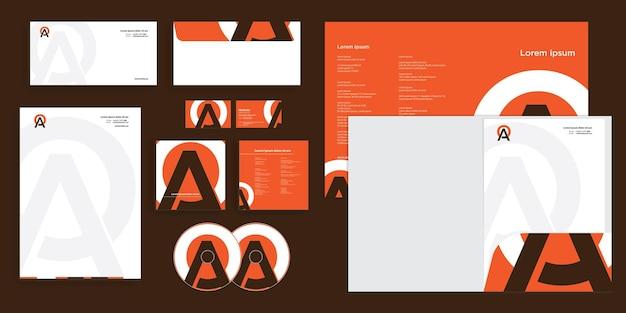Logotipo abstrato do círculo da letra a identidade corporativa moderna estacionária