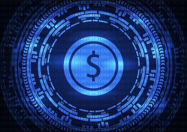 Logotipo abstrato do dólar da tecnologia no fundo azul.