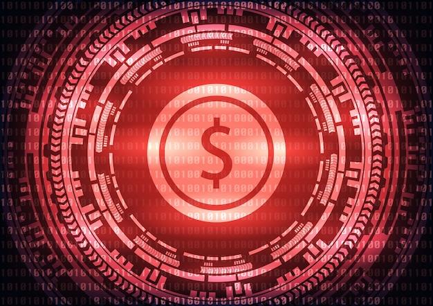 Logotipo abstrato do dólar da tecnologia no fundo vermelho.