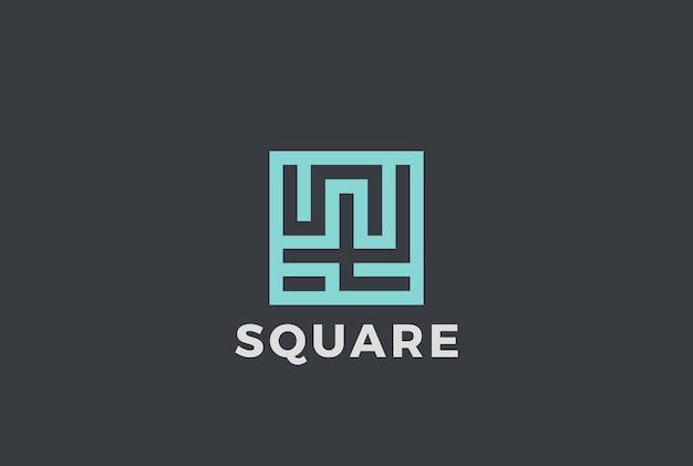 Logotipo abstrato do labirinto do labirinto quadrado. estilo linear.