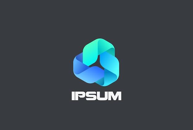 Logotipo abstrato do triângulo em loop infinito. logotipo de loop infinito de tecnologia de farmácia em medicina corporativa