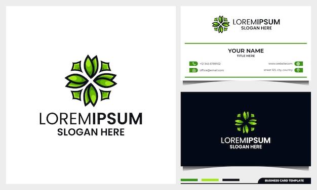 Logotipo abstrato e moderno de folha ou flor com modelo de design de cartão de visita