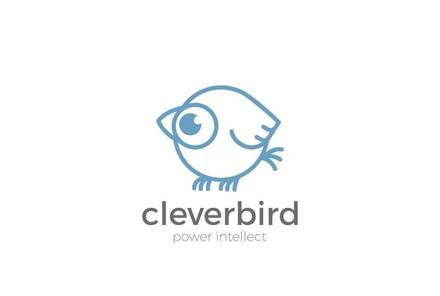 Logotipo abstrato engraçado do pardal. estilo linear.