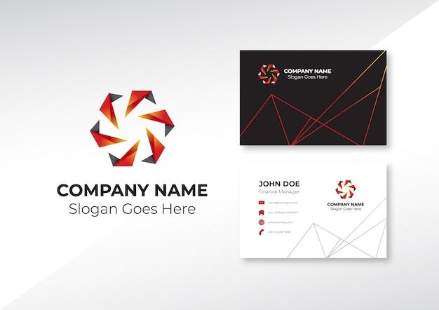 Logotipo abstrato engrenagem com design de cartão de visita