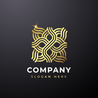 Logotipo abstrato flor de ouro