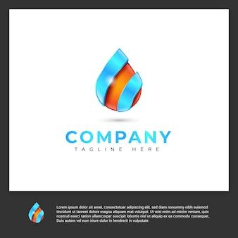 Logotipo abstrato gota d'água
