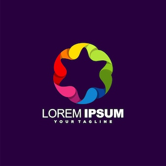 Logotipo abstrato gradiente impressionante