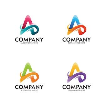Logotipo abstrato letra a, inicial letra a e ondas. modelo - vetor