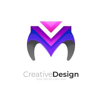 Logotipo abstrato m e design de estilo 3d, ícone colorido
