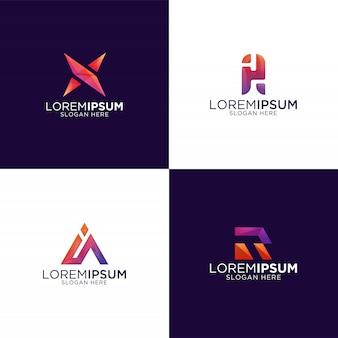 Logotipo abstrato moderno colorido da coleção