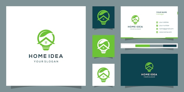 Logotipo abstrato para lâmpada de eficiência doméstica com folha acima. logotipo e cartão de visita.