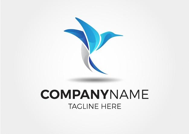 Logotipo abstrato pássaro azul