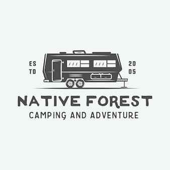 Logotipo acampamento ao ar livre e aventura