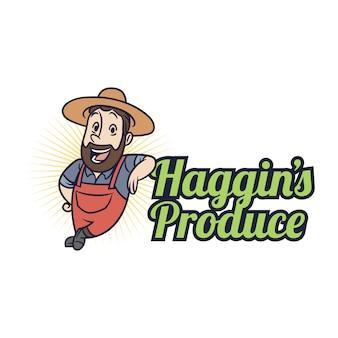 Logotipo amigável da mascote do fazendeiro