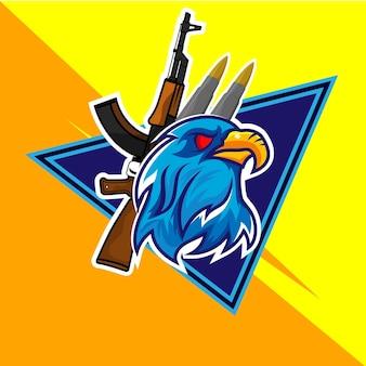 Logotipo animal emblema torneio águia pássaro personagem é fácil de editar e personalizar