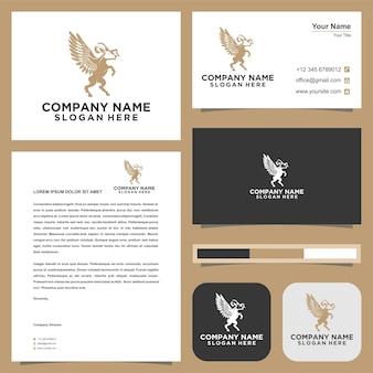 Logotipo animal exclusivo com asas e cartão de visita