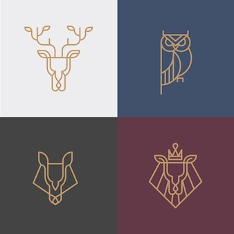 Logotipo animal linear hipster