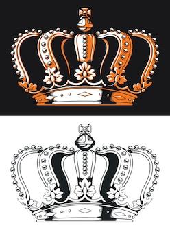 Logotipo antigo da coroa da rainha da silhueta em estilo preto e branco